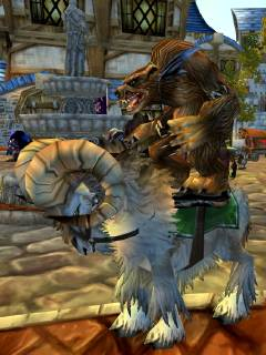 A furbolg rides a ram through Stormwind